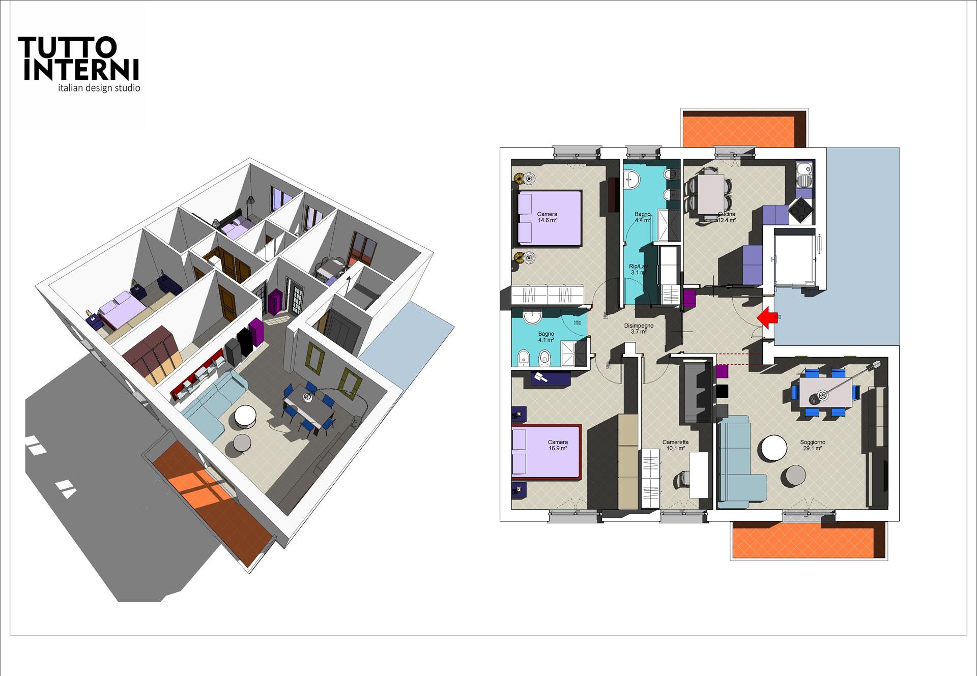 Progettazione interni e arredamento di case for Progettazioni interni